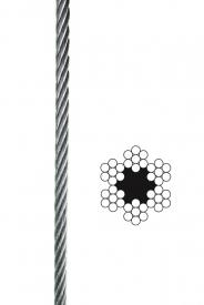 Oceľové lano pozinkované 6x7+FC,B, DIN 3055