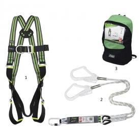 Bezpečnostná súprava na prácu vo výškach FA8000500 obsahuje : Bezpečnostný postroj na prácu vo výškach, lano s tlmičom pádu s dĺžkou 1,5 m, dva háky a prepravnú tašku.