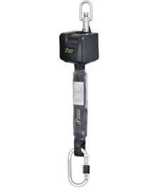 Zaťahovací zachytávač pádu dĺžka 2,5 m, FA2030002, celková dĺžka popruhu 2,5 m, zabudovaný tlmič pádu, 1 karabína a hák s indikátorom pádu.