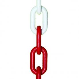 Plastová reťaz červeno-biela je vhodná na zabezpečenie ochrannej zóny. Priemer reťaze je 6 mm alebo 8 mm. Dĺžka balení je 25 a 30 m.