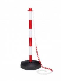 Bezpečnostný plastový stĺpik s podstavcom červeno biely spoločne s plastovými reťazami slúžia na dočasné označenie nebezpečných miest ale ideálny je aj pre usmernenie davu