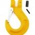 Hák reťazový s čapom a bezpečnostnou poistkou je vyrobený v pevnostnej triede 8. Hák reťazový s čapom a s bezpečnostnou poistkou slúži na zavesenie bremena a je určený ako koncové zakončenie závesov a prostriedkov na zdvíhanie predmetov, materiálov a tova