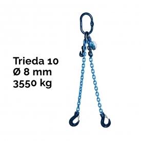 Reťazový záves, oko-2 hák, skracovač, Nosnosť 3550/2500 kg,G10-8, Certifikát