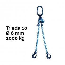 Reťazový záves, oko-2 hák, skracovač, Nosnosť 2000/1400 kg, G10-6, Certifikát