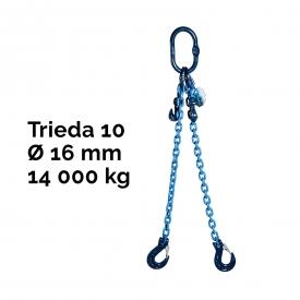 Reťazový záves, oko-2 hák, skracovač, Nosnosť 14 000/10 000 kg, G10-16, Certifikát