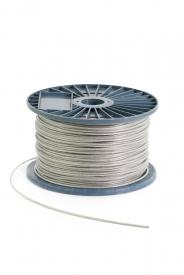 Oceľové lano pozinkované na cievke 6x7+FC, poplastované, DIN 3055 má transparentný (priehľadný) PVC obal,