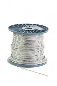 Oceľové lano 6x37+FC pozinkované, na cievke, DIN 3066 oceľové lano vinuté klasickým spôsobom s veľkým počtom drôtov (6 x 37 = 222 drôtov + textilné jadro, pevnosť 1770MPa)
