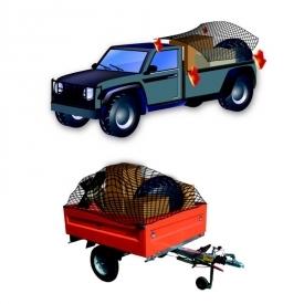 Transportné siete na zakrytie nákladu sú vhodné pre prívesné vozíky, strešné nosiče, otvorené nádoby, kamióny